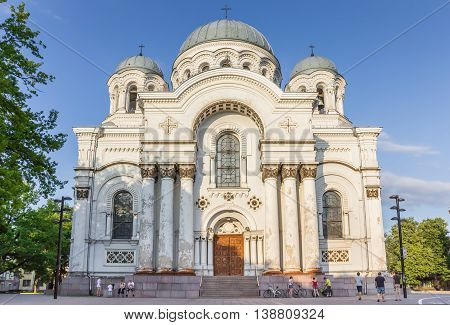 KAUNAS, LITHUANIA - JUNE 22, 2013: St. Michael the Archangel church in Kaunas, Lithuania