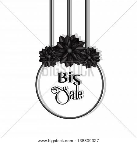 Big Sale. Elegant design element with black flowers in a gothic style. Vector illustration eps10