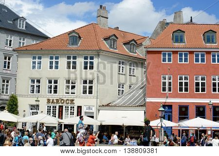 COPENHAGEN, DENMARK - JULY 12, 2016: Nyhavn a 17th century harbour in Copenhagen with typical colorful houses and water canals, Nyhavn, Copenhagen, Denmark