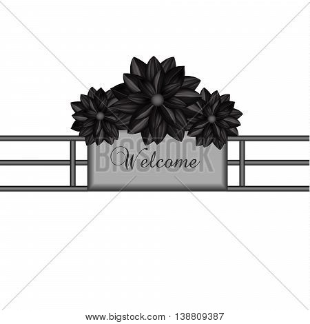 Elegant design element with black flowers in a gothic style. Vector illustration eps10