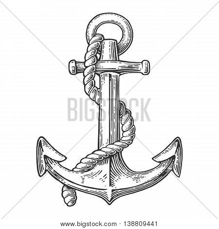 Anchor isolated on white background. Vector vintage engraving illustration for tattoo web and label. Hand drawn in a graphic style.