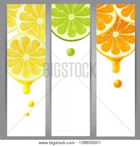 3 vertical banners with lemon, lime and orange