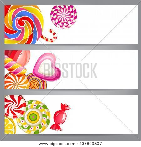 3 bright banners with candies