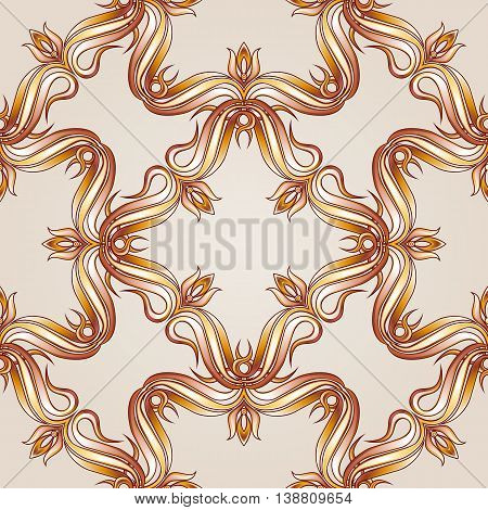 Brown and yellow seamless vector pattern for webpage wallpaper or ceramic tiles