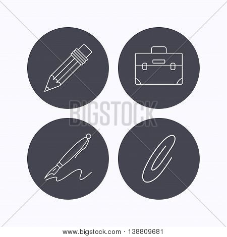 Briefcase, pencil and safety pin icons. Pen linear sign. Flat icons in circle buttons on white background. Vector