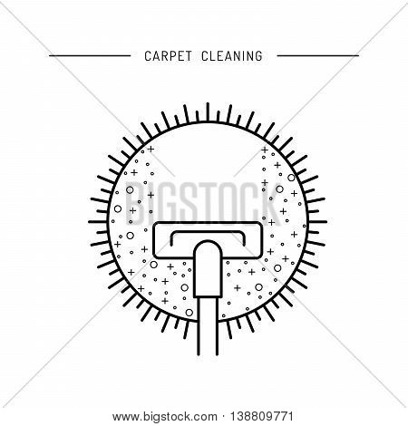 Cleaning of carpets with vacuum cleaner and detergents drawn in a linear fashion. Vector logo of the cleaning company booklet flyer