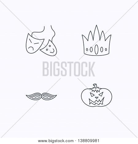 Crown, pumpkin and theater masks icons. Mustache linear sign. Flat linear icons on white background. Vector