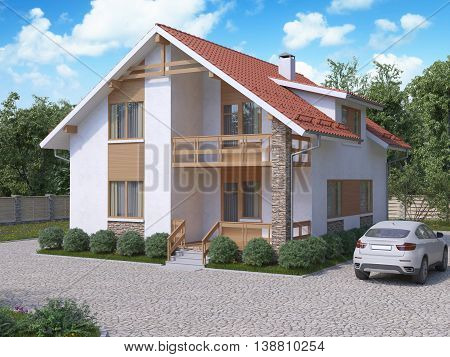 3D Rendering Of Private Suburban, Two-story House In A Modern Style.