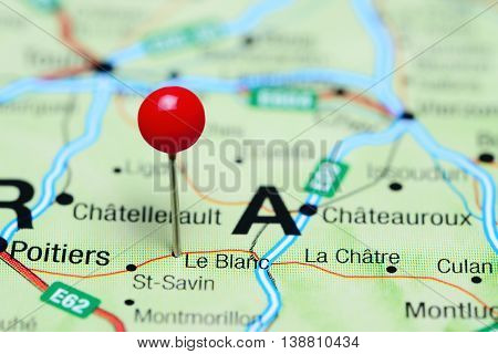 Le Blanc pinned on a map of France