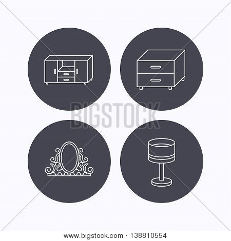 Vintage mirror, table lamp and nightstand icons. Chest of drawers linear sign. Flat icons in circle buttons on white background. Vector