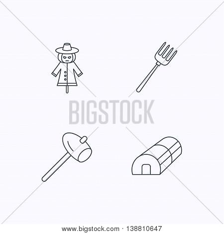 Hammer, hothouse and scarecrow icons. Pitchfork linear sign. Flat linear icons on white background. Vector