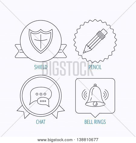 Chat, pencil and protection shield icons. Bell rings linear sign. Award medal, star label and speech bubble designs. Vector