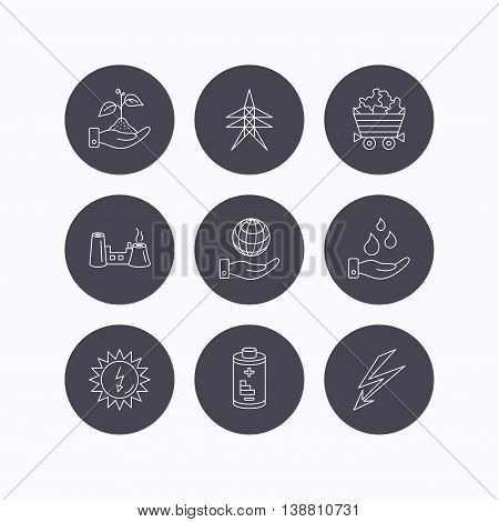 Save nature, planet and water icons. Minerals, lightning and solar energy linear signs. Battery, factory and electricity station icons. Flat icons in circle buttons on white background. Vector