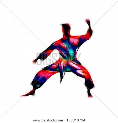 Man in a karate pose. Martial arts man silhouette. Abstract illustration of a martial arts master on white background
