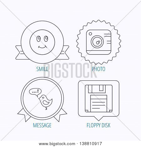 Photo camera, floppy disk and message icons. Smiling face linear sign. Award medal, star label and speech bubble designs. Vector