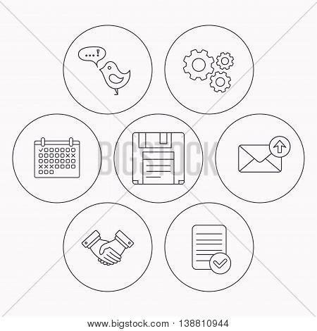 Outbox mail, message and handshake icons. Floppy disk linear sign. Check file, calendar and cogwheel icons. Vector