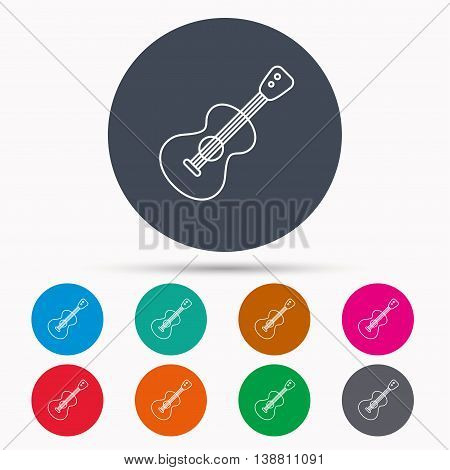 Guitar icon. Musical instrument sign. Band guitarist symbol. Icons in colour circle buttons. Vector
