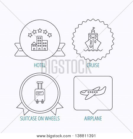 Hotel, cruise ship and airplane icons. Baggage linear sign. Award medal, star label and speech bubble designs. Vector