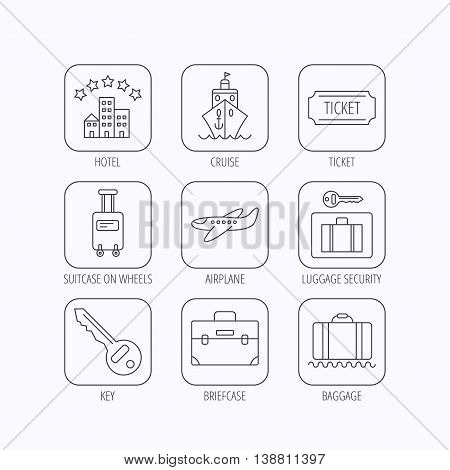Hotel, cruise ship and airplane icons. Key, baggage and briefcase linear signs. Luggage security and ticket flat line icons. Flat linear icons in squares on white background. Vector