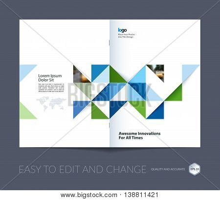 Brochure template layout, cover design annual report, magazine, flyer, leaflet in A4 with blue triangles for business, technology and science in style of material design. Vector.