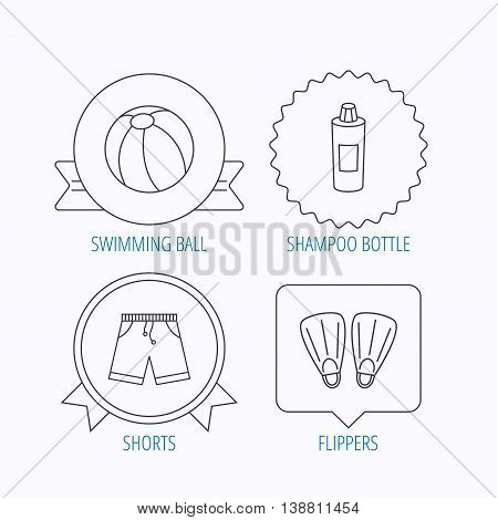 Flippers, swimming ball and trunks icons. Shampoo bottle linear sign. Award medal, star label and speech bubble designs. Vector