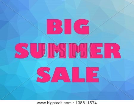 Hot summer seasonal sale banner pink letters on blue background.