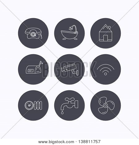 Wifi, video camera and mailbox icons. Real estate, bath and water supply linear signs. Radiator with heat regulator, phone icons. Flat icons in circle buttons on white background. Vector