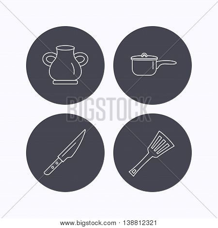 Saucepan, kithcen knife and utensils icons. Vase linear sign. Flat icons in circle buttons on white background. Vector