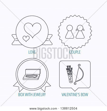 Love heart, jewelry and couple icons. Valentine amour arrows linear signs. Award medal, star label and speech bubble designs. Vector