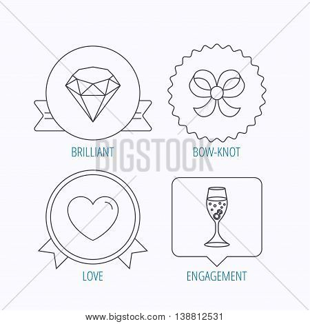 Love heart, brilliant and engagement ring icons. Bow-knot linear sign. Award medal, star label and speech bubble designs. Vector