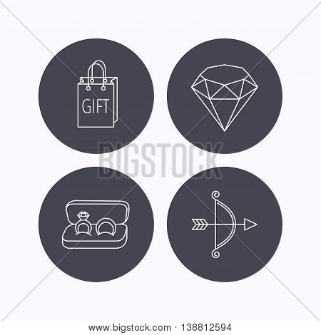 Brilliant, gift and wedding rings icons. Bow and arrow linear signs. Flat icons in circle buttons on white background. Vector