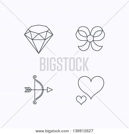 Love heart, brilliant and bow-knot icons. Bow and arrow linear signs. Flat linear icons on white background. Vector