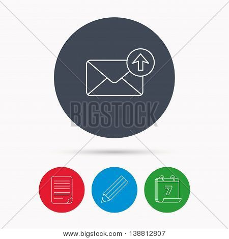 Mail outbox icon. Email message sign. Upload arrow symbol. Calendar, pencil or edit and document file signs. Vector