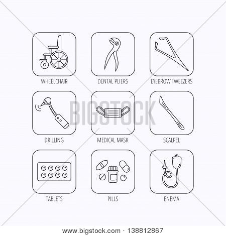 Medical mask, pills and dental pliers icons. Tablets, drilling tool and wheelchair linear signs. Enema, scalpel and tweezers flat line icons. Flat linear icons in squares on white background. Vector