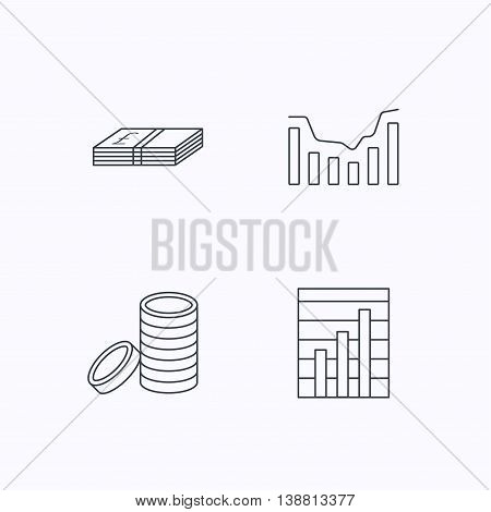 Cash money and dynamics chart icons. Coins linear sign. Flat linear icons on white background. Vector