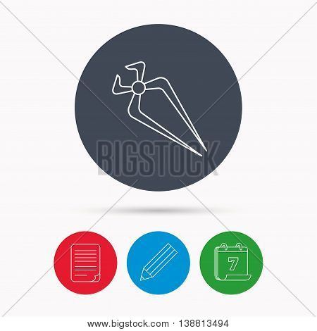 Nippers icon. Repairing service tool sign. Calendar, pencil or edit and document file signs. Vector
