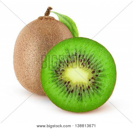 Isolated Cut Kiwi