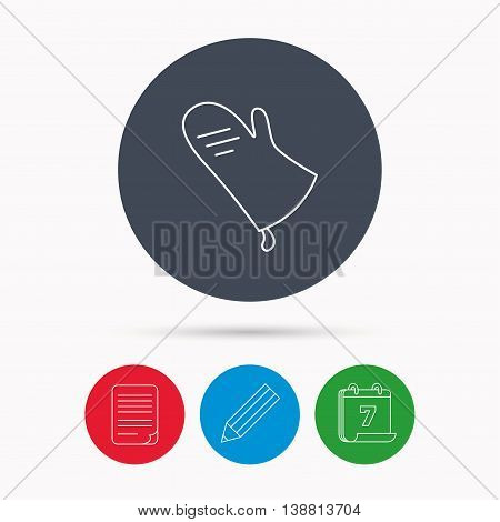 Potholder icon. Kitchen protection glove sign. Calendar, pencil or edit and document file signs. Vector