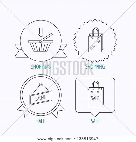 Shopping cart, sale bag icons. Sale label linear sign. Award medal, star label and speech bubble designs. Vector