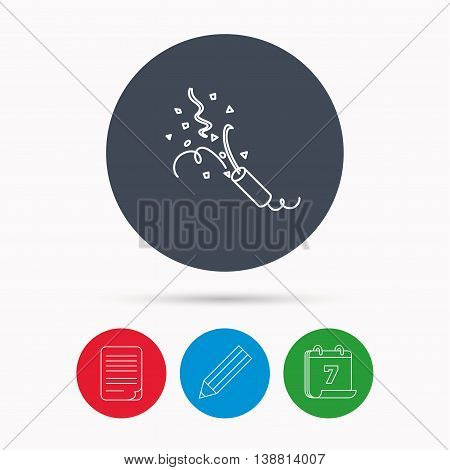 Shooting slapstick icon. Celebration sign. Calendar, pencil or edit and document file signs. Vector