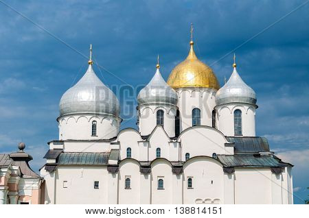 Architecture landscape-closeup of Saint Sophia Cathedral domes in Veliky Novgorod Russia.The oldest Orthodox church building in Russia closeup architecture view with sculptural architecture details