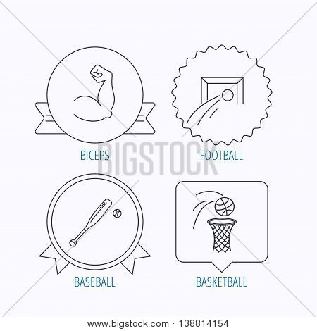 Baseball, football and basketball icons. Biceps linear sign. Award medal, star label and speech bubble designs. Vector