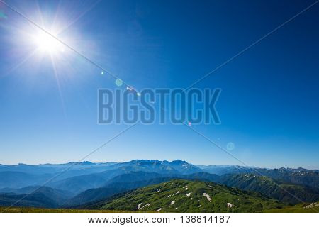 Mountain in Caucasus under blue sky