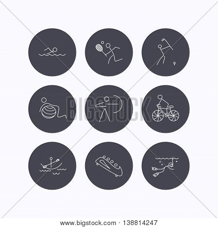 Swimming, tennis and golf icons. Biking, diving and gymnastics linear signs. Archery, boating and bobsleigh icons. Flat icons in circle buttons on white background. Vector