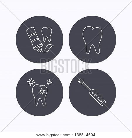 Healthy teeth, tooth and toothpaste icons. Electric toothbrush linear sign. Flat icons in circle buttons on white background. Vector