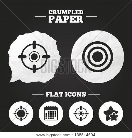 Crumpled paper speech bubble. Crosshair icons. Target aim signs symbols. Weapon gun sights for shooting range. Paper button. Vector