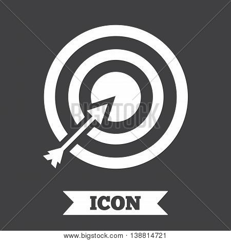 Target aim sign icon. Darts board with arrow symbol. Graphic design element. Flat aim symbol on dark background. Vector