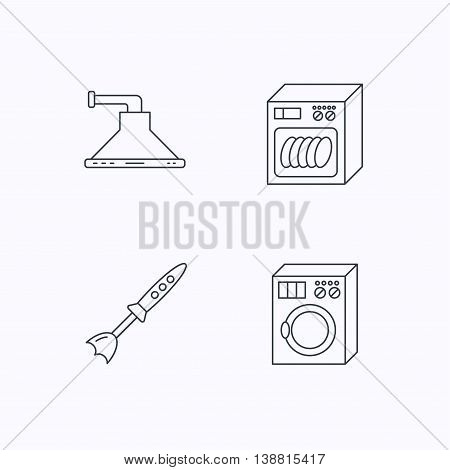 Dishwasher, washing machine and blender icons. Kitchen hood linear sign. Flat linear icons on white background. Vector