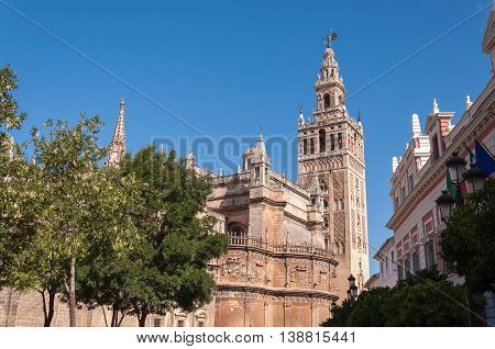 The Giralda - bell tower of the Seville Cathedral in Spain