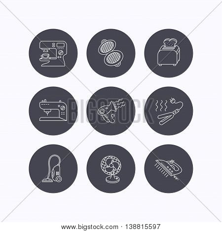 Coffee maker, sewing machine and toaster icons. Ventilator, vacuum cleaner linear signs. Hair dryer, steam ironing and waffle-iron icons. Flat icons in circle buttons on white background. Vector